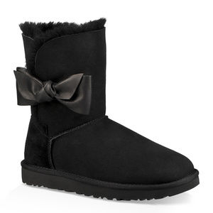 UGG DAELYN SUEDE LEATHER BOW BOOTS NEW BLACK